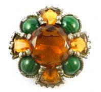 Vintage Scottish Shield Style Faux Agate And Cairngorm Rhinestone Brooch By Miracle.